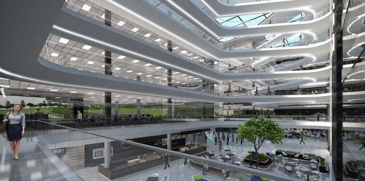 An artist's impression of what the interior will looked like when the Deloitte Building is completed.