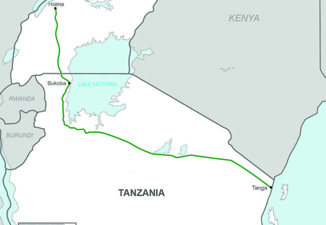 A map of where the Crude Oil Pipeline, Uganda / Tanzania will be required.