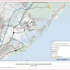 Zulti South Mining Project for Richards Bay Minerals Map
