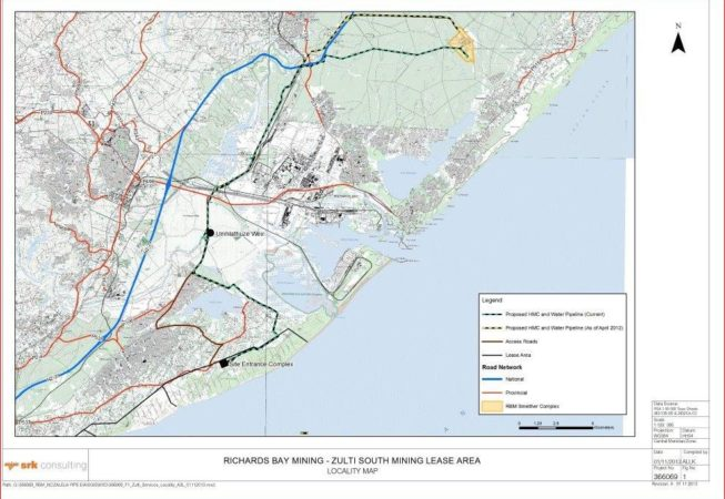 This is a map of the Zulti South Mining Project for Richards Bay Minerals.