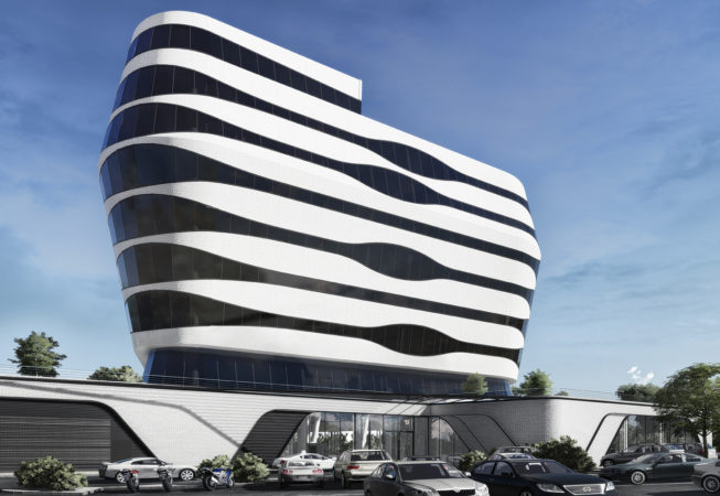 This is the artist's impression of the Reference New Iconic Commercial Building at the  Hilton Garden Inn Hotel in Swaziland.