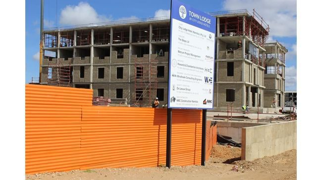The construction site of the Building at the Town Lodge Hotel, Namibia.